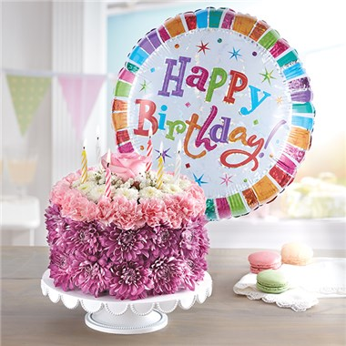Birthday Wishes Flower Cake TM Pastel 148666Lb HR Fd 11 29 16